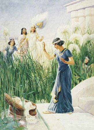 Image result for Pharaoh's daughter finds a basket by the river, art, photos