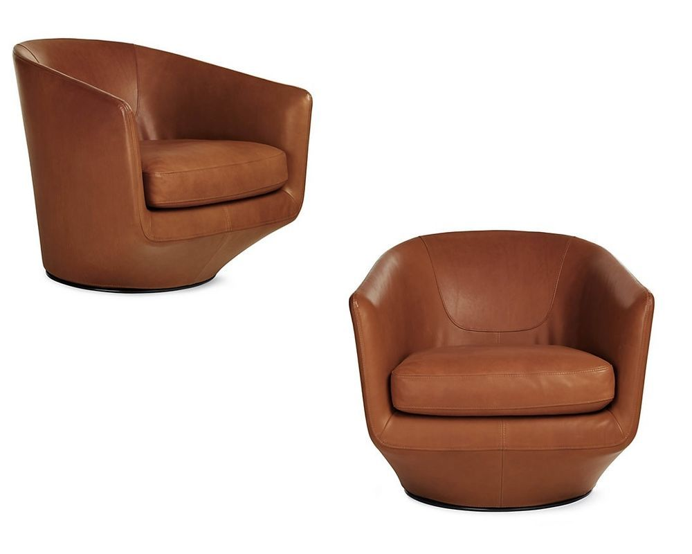 Modern light blue leather swivel lounge chair dove midcentury - Bensen U Turn Swivel Club Chair Saddle Aquario Leather Set Of 2 Dwr Midcentury Modern
