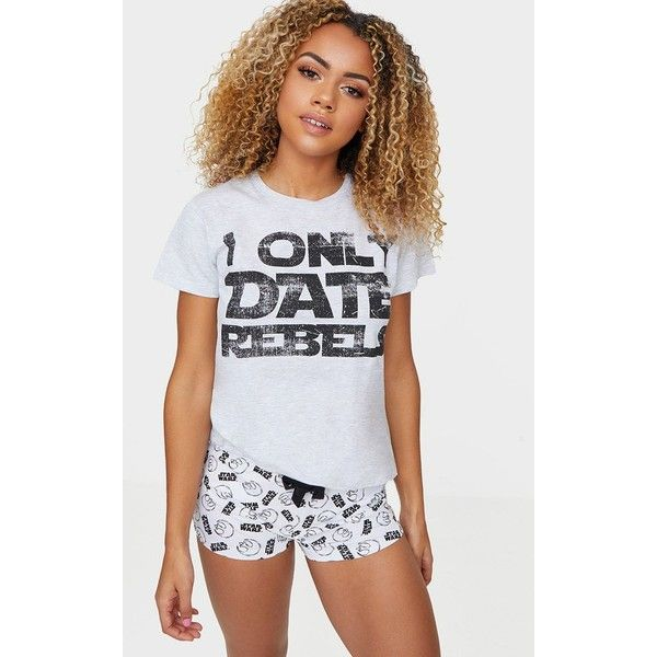 Grey Star Wars I Only Date Rebels Short Pyjama Set ($22) ❤ liked on Polyvore featuring intimates, sleepwear, pajamas, grey, short pajamas, short sleepwear, short pjs and short pajama set