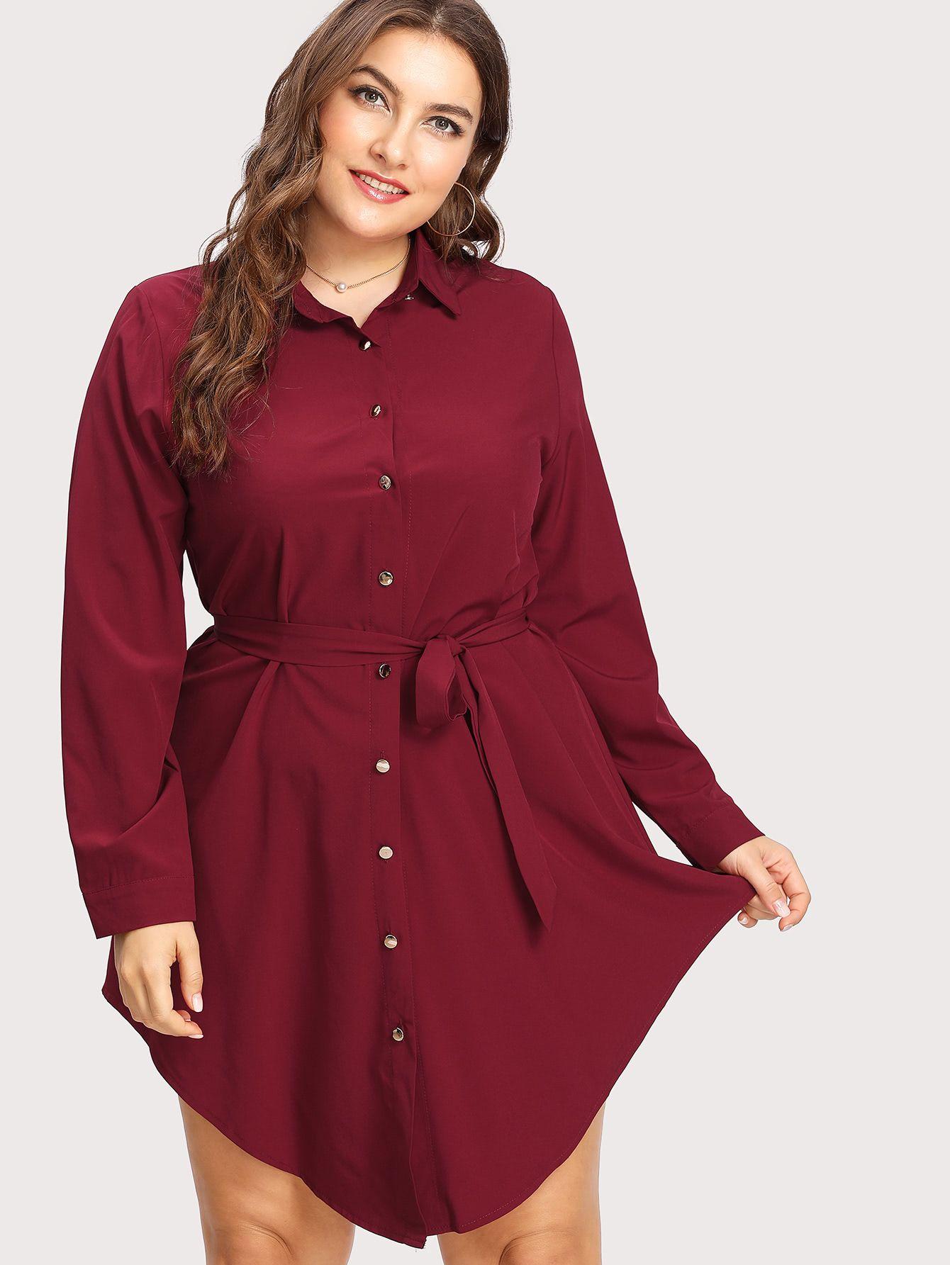 9a55e54473dde Shop Curved Hem Shirt Dress online. SheIn offers Curved Hem Shirt Dress    more to fit your fashionable needs.