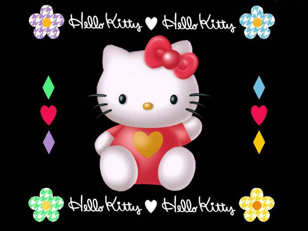 Hello Kitty Black Glitter Background Hello Kitty Wallpapers And