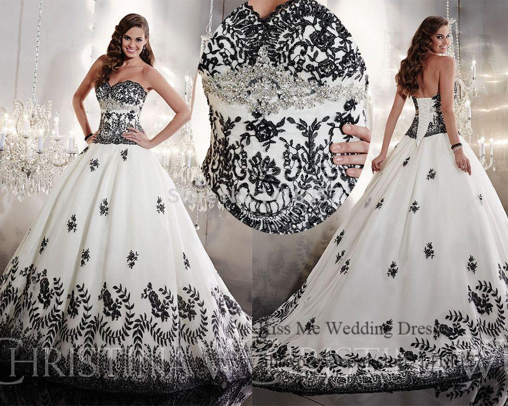 vestidos de novia blanco y negro con mangas - Buscar con Google ...