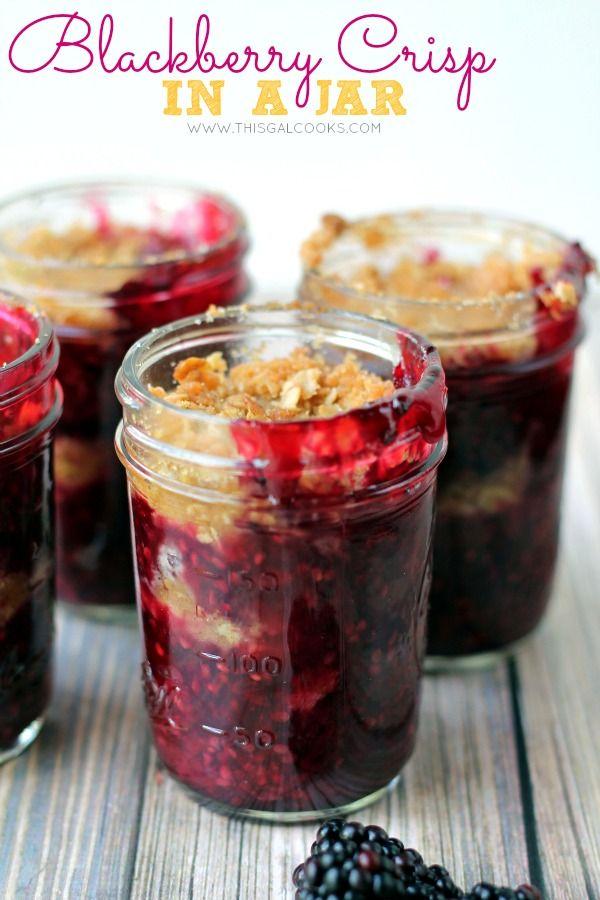 Blackberry Crisp in a Jar from www.thisgalcooks.com #blackberries #fruitcrisp #jarrecipes wm