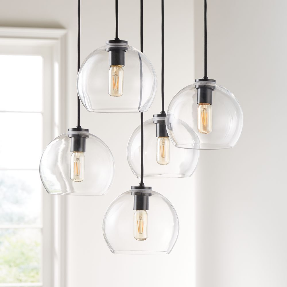 Arren Black Round 5 Light Pendant With Clear Round Shades