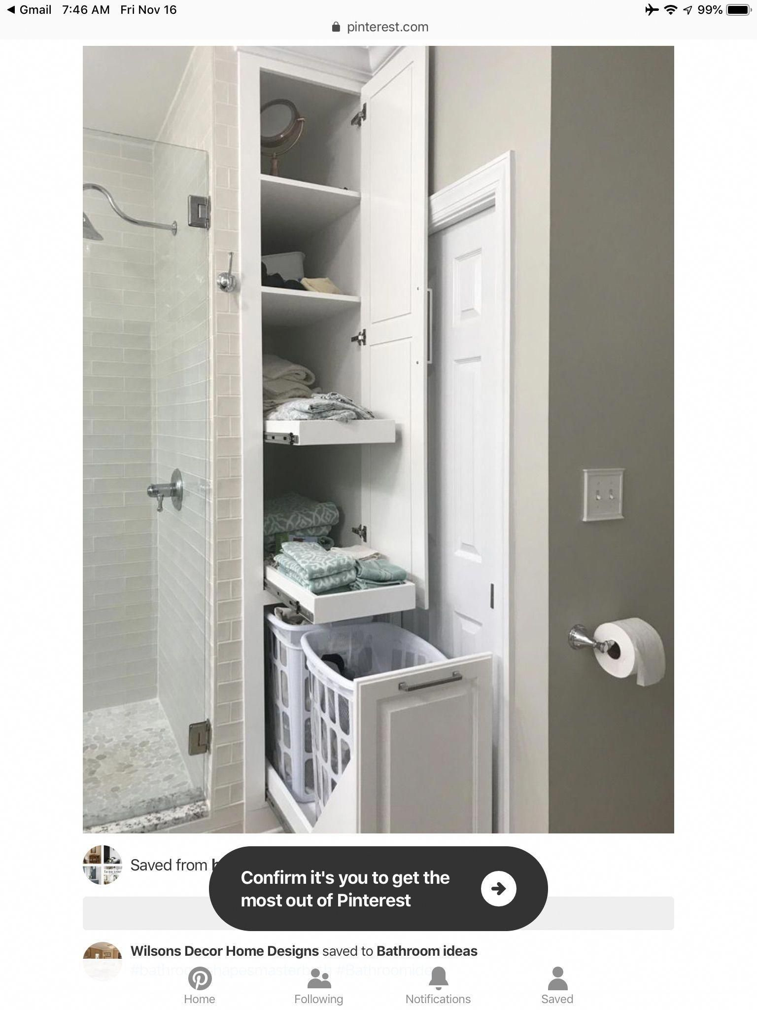 Shelves In Unused Shower Space 28 Bathroom Storage Ideas To Getting Clutter Away Ikeabathroom Bathroom Farmhouse Style Small Bathroom Laundry In Bathroom