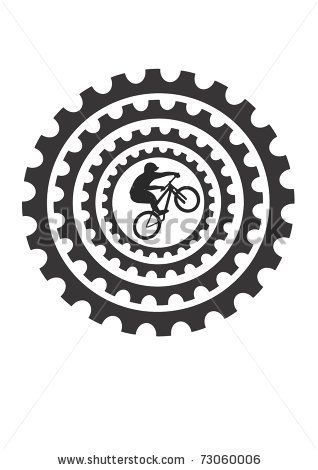 Bike Gear Clip Art Mountain Bike Rider And Bicycle Cogs Stock