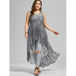High Low See Through Lace Plus Size Top - 5XL GRAY