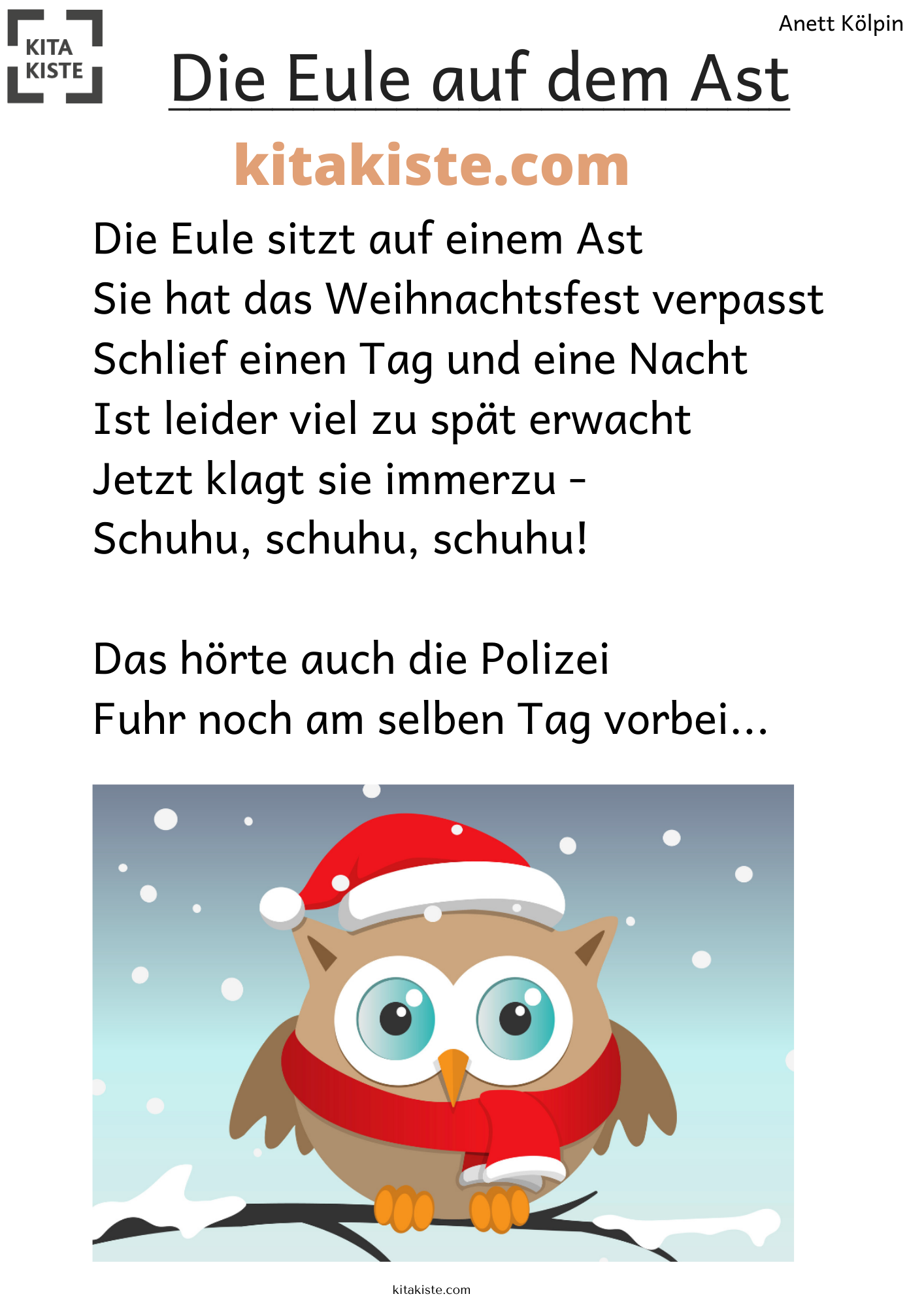 Die Eule Auf Dem Ast Ast Auf Dem Lustiges Gedicht Mit 3 Strophen Aus 10 Reime Im In 2020 Gedicht Weihnachten Eule Lustige Gedichte