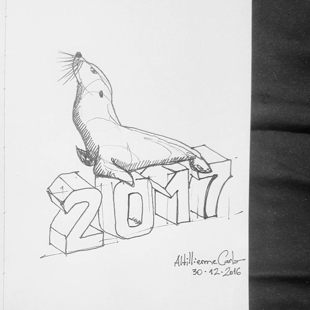 """79 curtidas, 6 comentários - Autoria: @altillierme_carlo (@desenhos_do_alti) no Instagram: """"Foca em 2017. 👊😎👋😂 Dia 365... #desenhosdoalti #desenhos #sketch #sketchers #sketchbook #art…"""""""