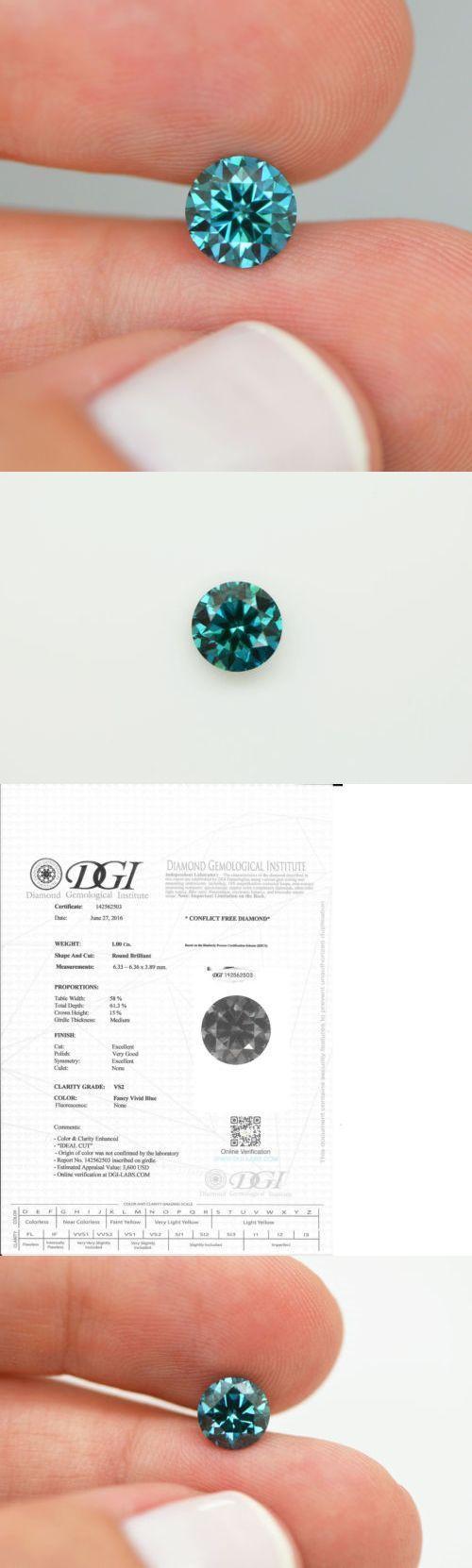 loose Diamonds : loose Diamonds : Enhanced Natural Diamonds 152810: One Carat Fancy Blue Round ...