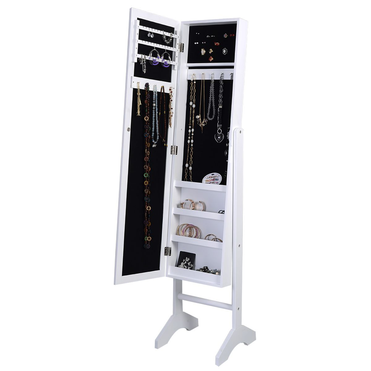 Goplus Goplus Mirrored Armoire Jewelry Cabinet Mirror ...