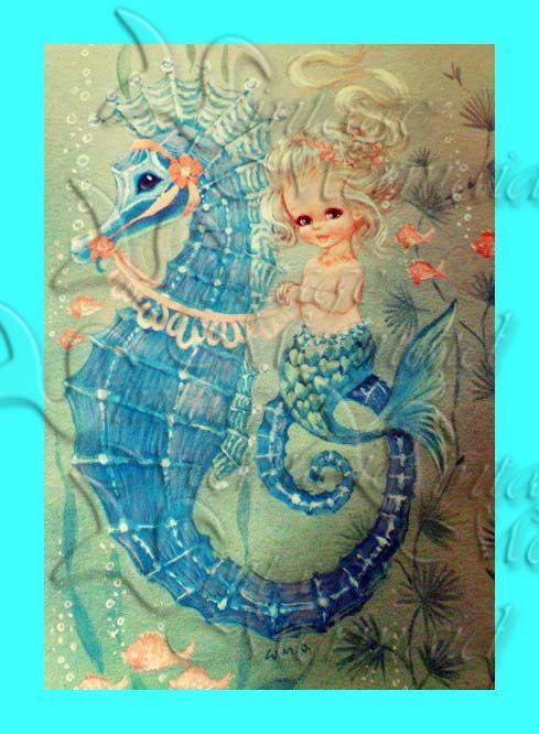 S378 Vintage Fairy Tale Mermaid Illustration Children S
