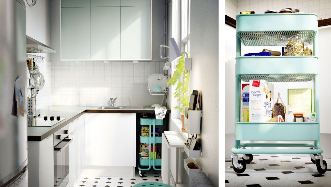 Small kitchen with space-saving dining and storage solutions - kleine küchenzeile ikea