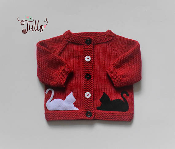 3ea1cbb68 Black cat sweater black and white red sweater hand knit cardigan ...