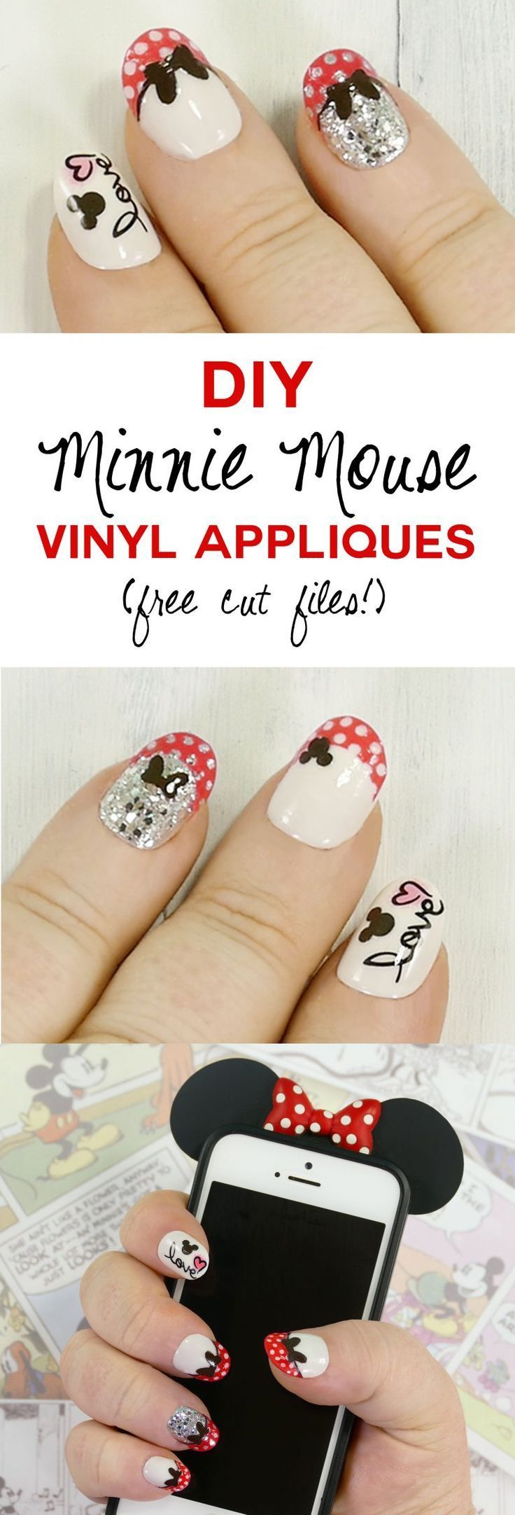 Diy minnie mouse nail tips vinyl appliques made on the