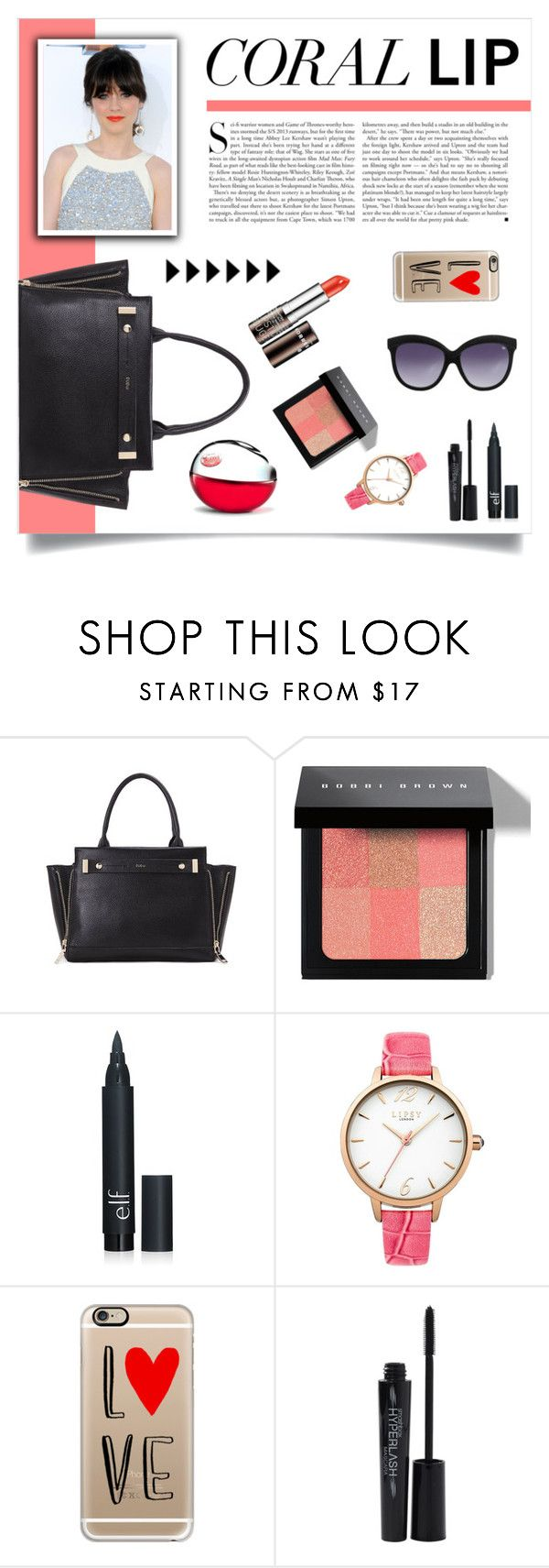 """Coral lip"" by dudubags ❤ liked on Polyvore featuring beauty, Kershaw, Bobbi Brown Cosmetics, DKNY, Lipsy, Casetify and Smashbox"