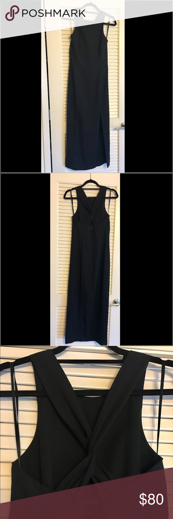 """Elegant black evening gown Only worn once! Beautiful Ann Taylor evening gown. Sleeveless. Measures 35"""" from waist down, Hits just above ankle. Slit on left side measures 19"""". Gorgeous back accent with cross-cross material. 52% polyester 48% acetate. Ann Taylor Dresses"""
