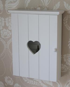 White wooden heart key cupboard