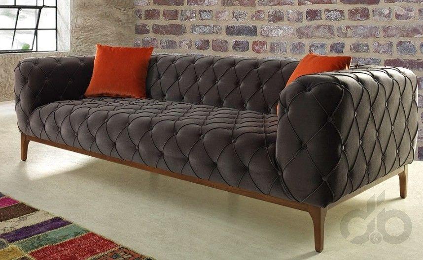 Gri modern chester koltuk gri pinterest salons for Wohnzimmer sofa modern