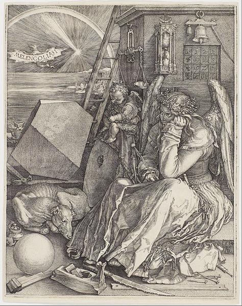 A Durer Melancholia I 1514 The Melancholic Humor Was Thought To Prompt Flights Of Fancy Genius And Profoun Albrecht Durer Albrecht Durer Mathematics Art