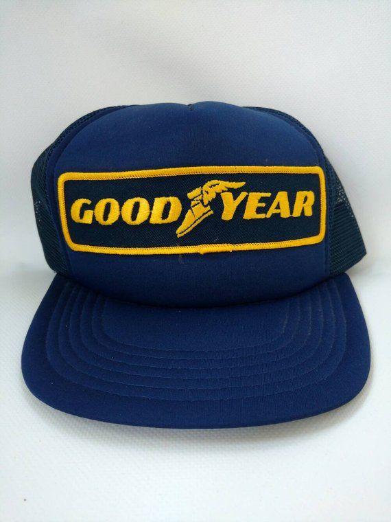 Goodyear Trucker Hat Blue Yellow Vintage Trucker Hats 12e26a9237f4