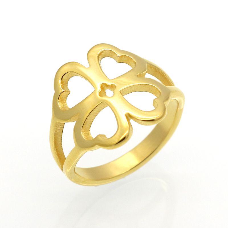 Mopera delle donne hollow fortunato del trifoglio sveglio ring in oro colore titanium wedding band bague gioielli dimensione selezionabile 6-9