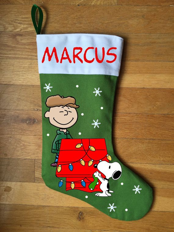 charlie brown snoopy christmas stocking by labelmybaby on ebay - Snoopy Christmas Stocking