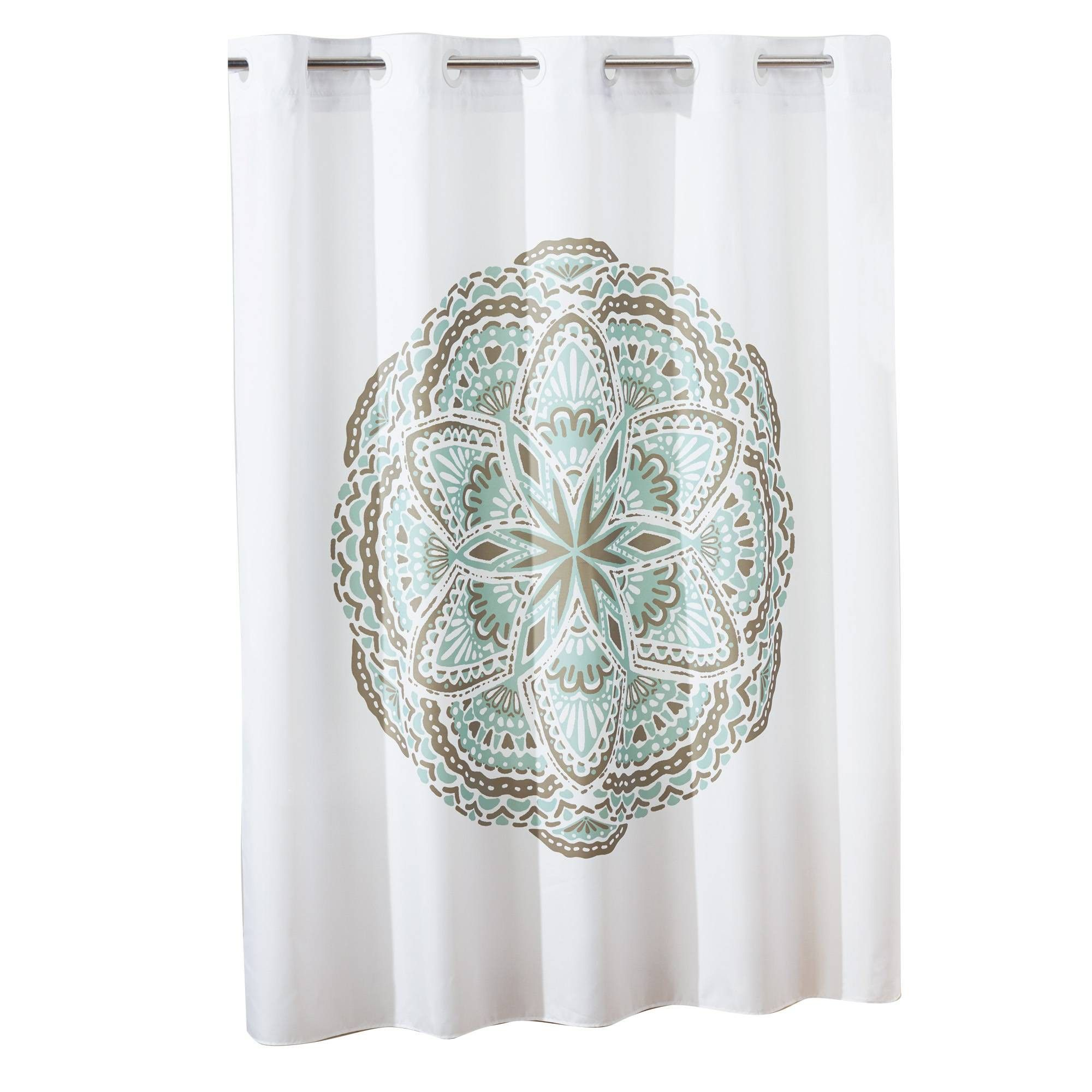 Henna Medallion Shower Curtain With Liner Spa Green White