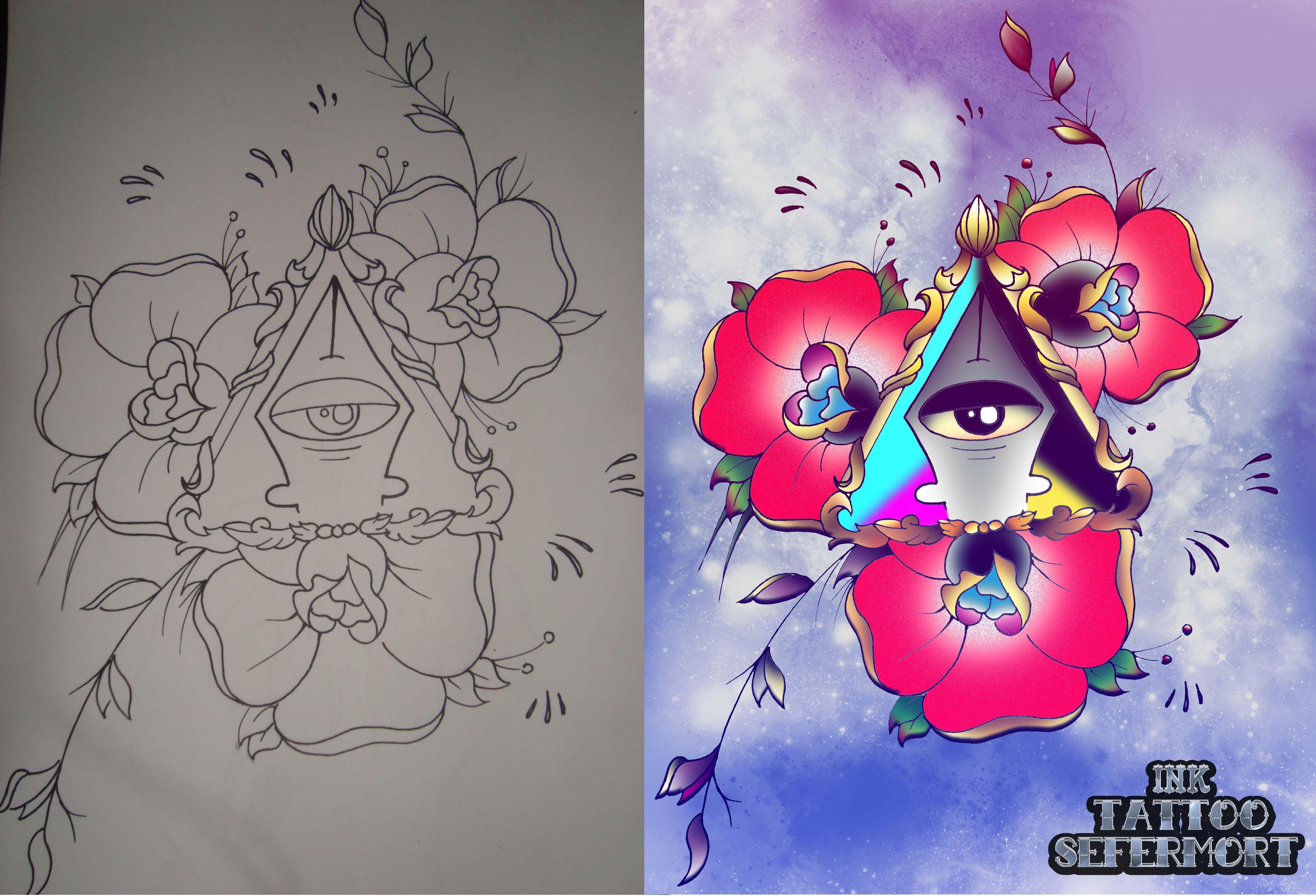 Dibujo Tradicional Color Digital Imagen De Mi Marca Para Tatuajes Dibujos Tradicionales Dibujos Colores