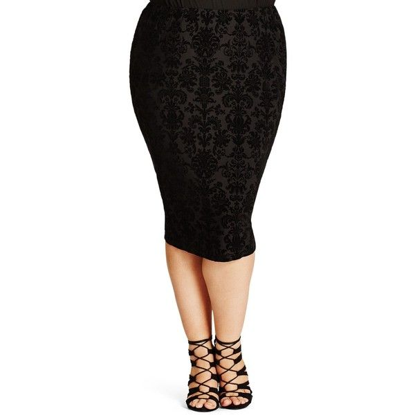 569be5612 City Chic Burnout Pencil Skirt ($62) ❤ liked on Polyvore featuring skirts,  black