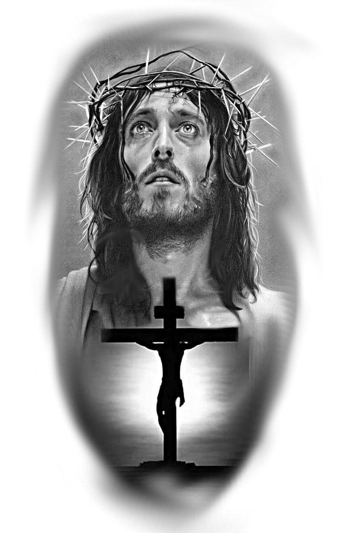 Jesus Portrat Kreuz Realistisch Portrat Tattoo 13
