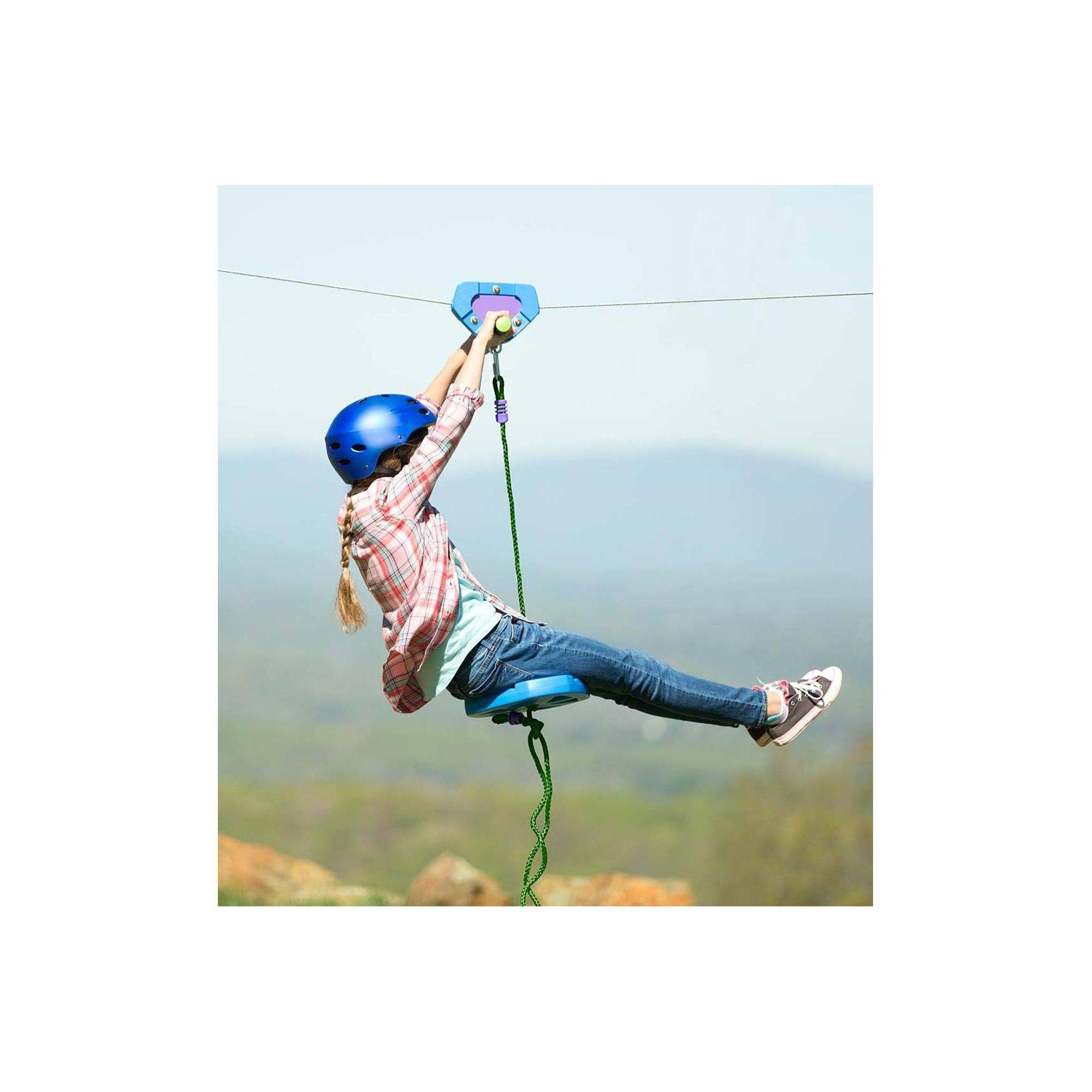 HearthSong - Backyard Zipline Kit with Adjustable Seat and ...