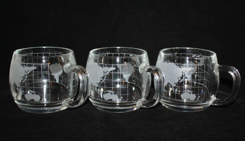 Vintage NESTLE Nescafe Coffee Mugs x3 Etched Glass World