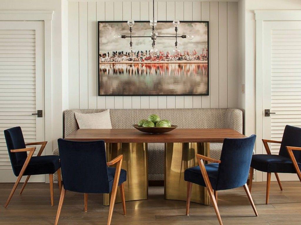 Sala de jantar moderna com poltronas azul color for Poltronas modernas
