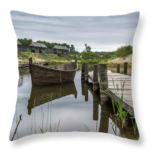 Peaceful Landscape With Lake And Wooden Boat Throw Pillow For Sale By Jelena Maksimova Landscape Wooden Boats Scenery
