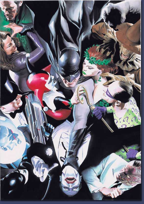 Clayface, Scarecrow, Poison Ivy, The Riddler, Two-Face, The Joker, Catwoman, Mr. Freeze, The Penguin, Harley Quin, Talia and Ra's Al Ghul