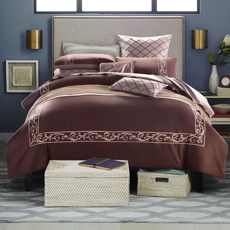 Elegant Embroidery Egyptian Cotton Bedding Set Queen King Size Solid White Brown Duvet Cover Flat Bed She Luxury Bedding Sets Luxury Bedding Duvet Cover Sets