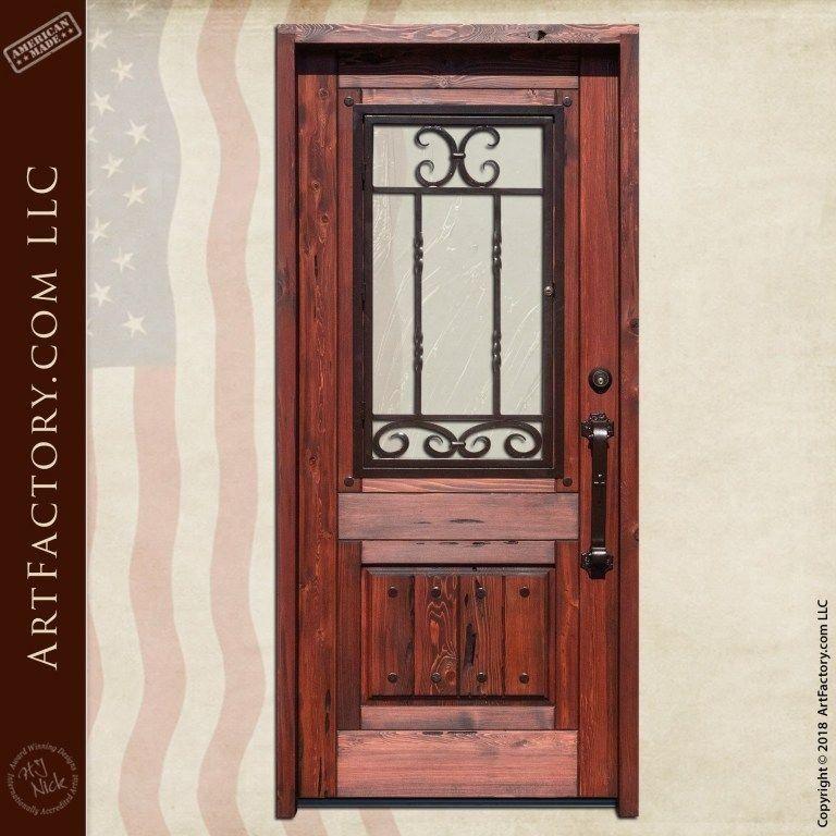 Half Lite Wooden Door With Custom Hand Forged Iron Security Grill 1000 In 2020 Wooden Doors Custom Wood Doors Wooden Doors Interior