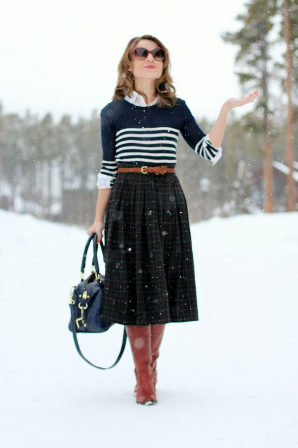 midi skirt with tall boots and striped sweater | wear to