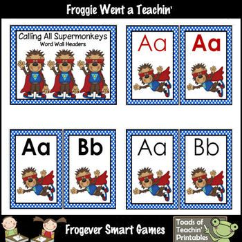 Literacy Resource -- Calling All Supermonkeys Word Wall He