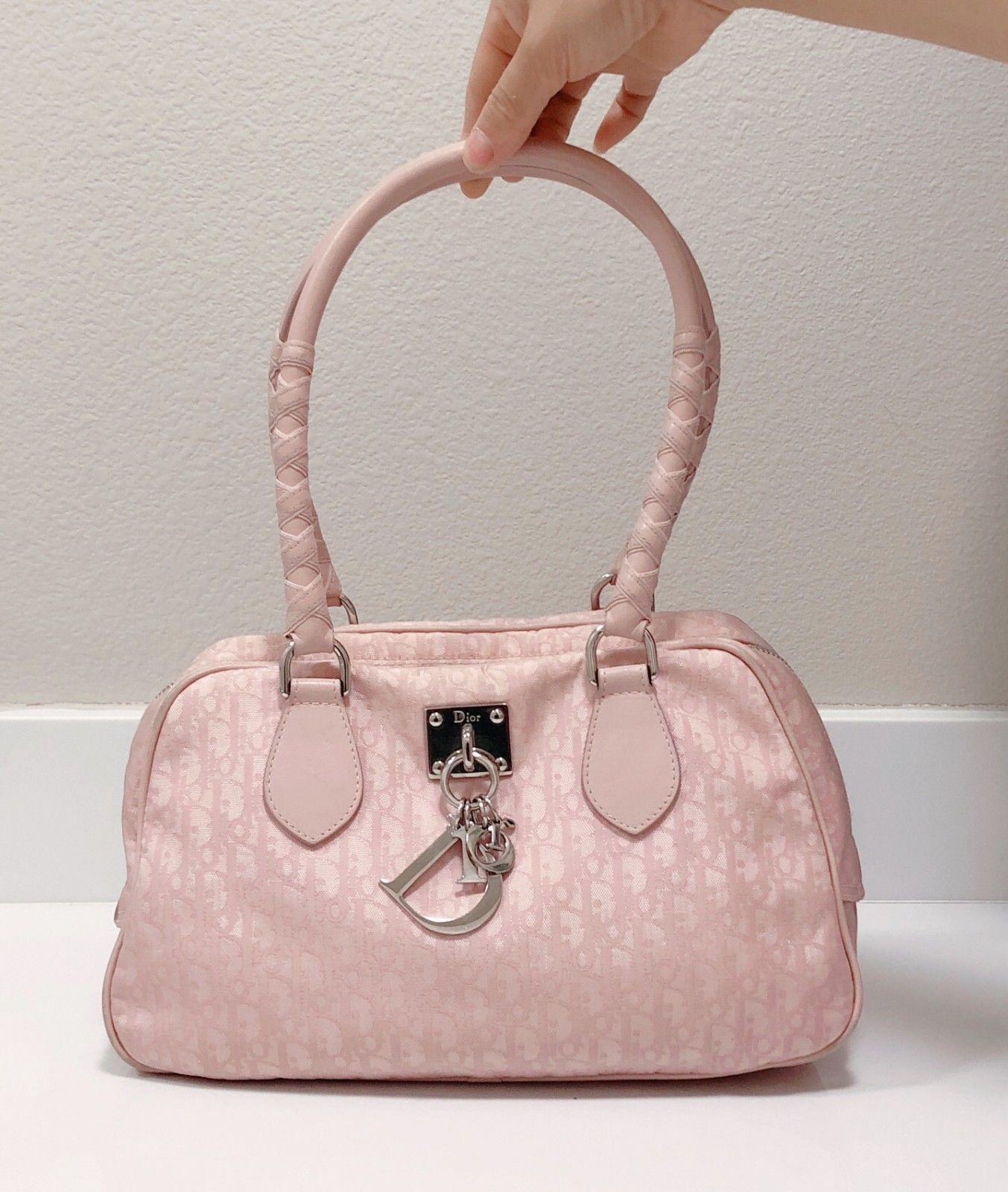 Christian Dior Trotter Pink Canvas Leather Shoulder Bag Purse Auth  02-BO-1007 24e6a4874b097