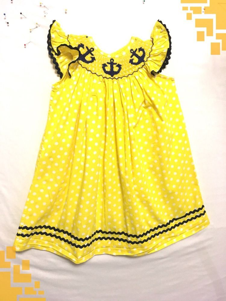 7543395d8f49 Sage and Lilly Girls Size 3T Dress Yellow 100% Cotton Smocking ...