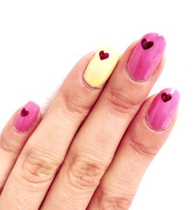 Valentine's Day heart nail art