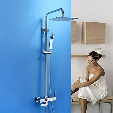 HPB™ Contemporary Chrome Brass Shower Faucet with Air Injection ...