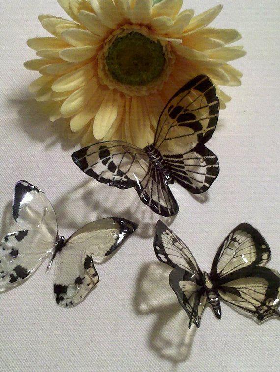 Faux Glass Clear 3D Butterflies by dlgarner68 on Etsy, $6.00