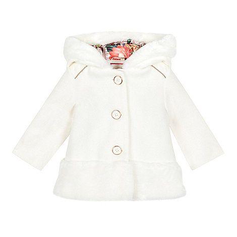 5190dddf9306f6 Baker by Ted Baker Baby girls  off white faux fur edge dress coat ...
