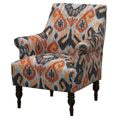 Candace Arm Chair - Ikat Gray/Orange | Upholstered arm ...