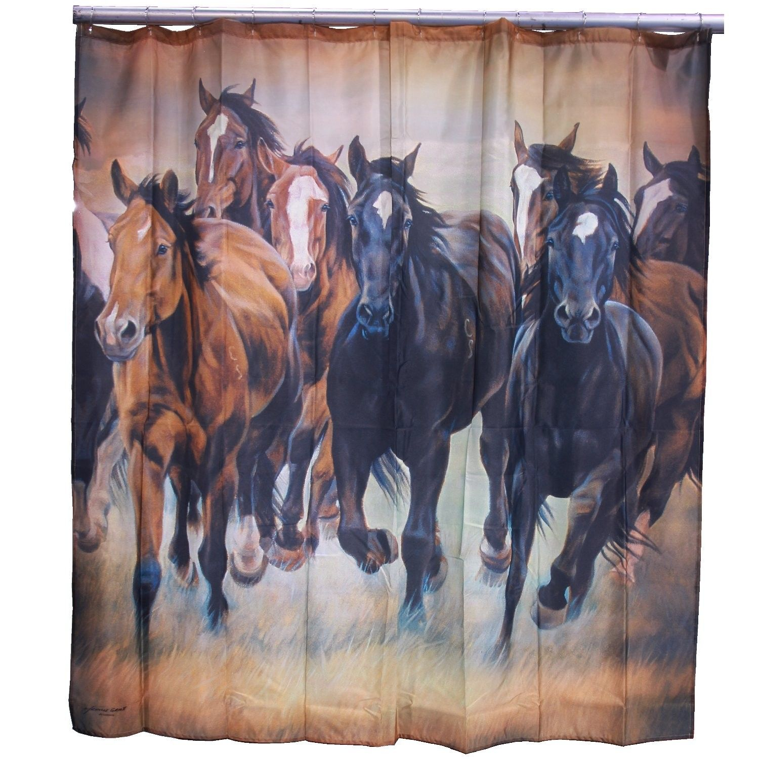 Horse Single Shower Curtain Horses Curtains Wild Mustangs