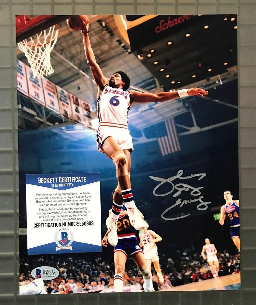 Julius Dr J Erving Signed 8x10 Photo Autographed Beckett Bas Coa 76ers Hof Basketball Erving 8x10 Photo 76ers