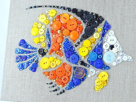 Tropical Fish Button Art, Handmade Wall Hanging by PaintedWithButtons